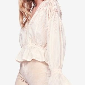 Free People Counting Stars Cotton Metallic Blouse